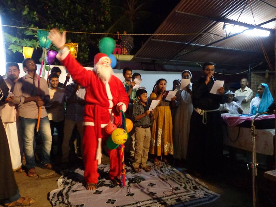 Christmas carols in a village